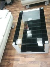 Konferenční stolek černá/sklo/ocel