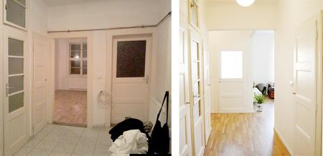 Před a po.. pohled na předsíň směrem od vstupních dveří..