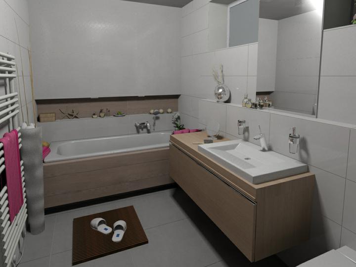 Nová kúpeľňa a sprcha - Nika s imit. dreva