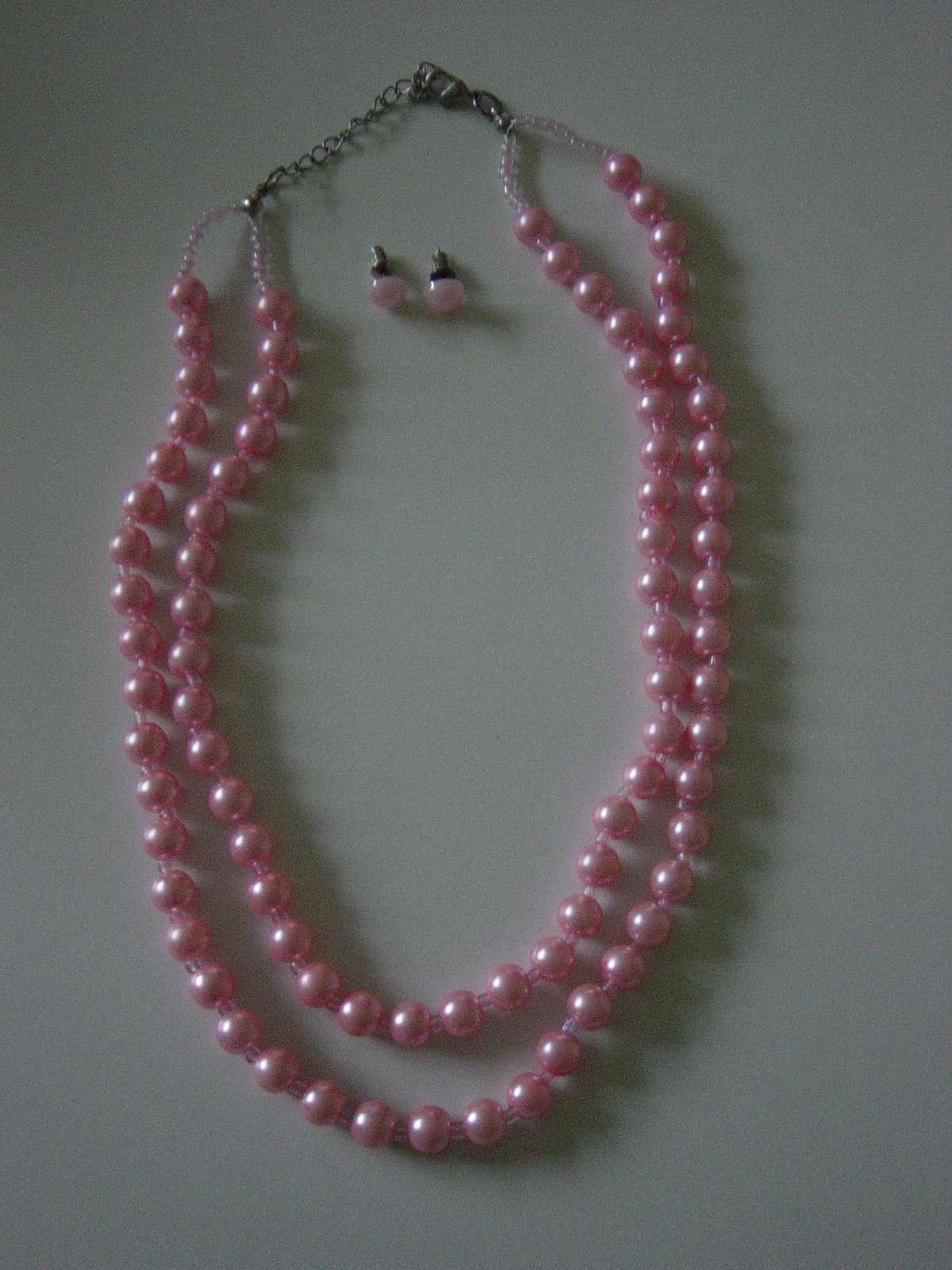 2 radový náhrdelník z ružových perličiek - Obrázok č. 1