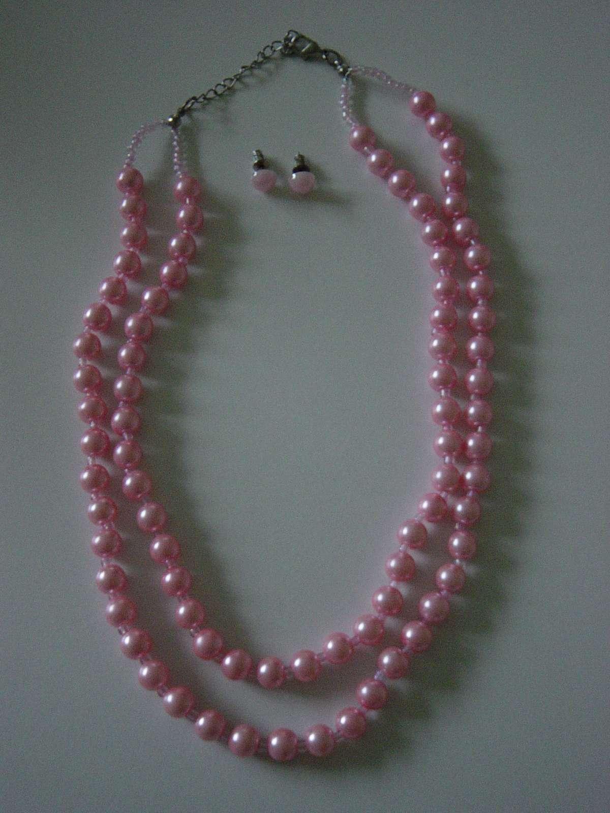 2 radový náhrdelník z ružových perličiek - Obrázok č. 2