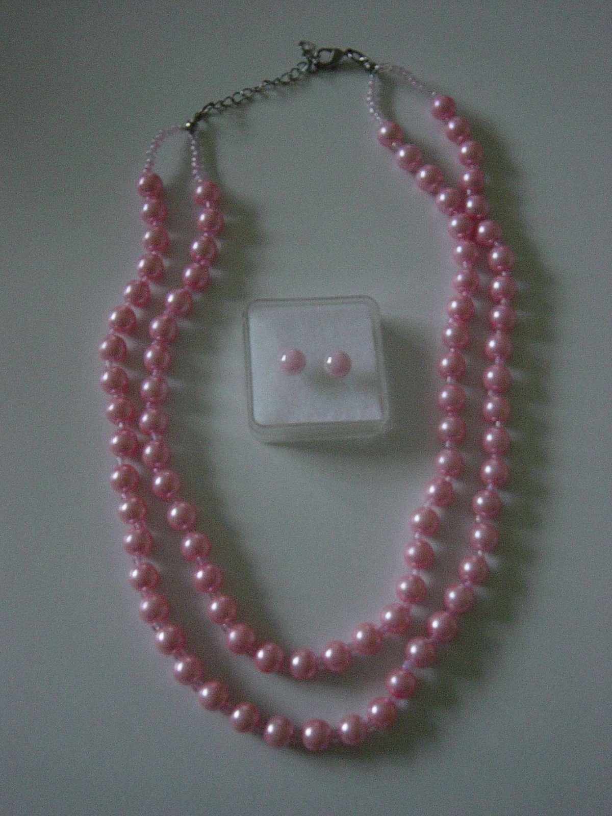 2 radový náhrdelník z ružových perličiek - Obrázok č. 3