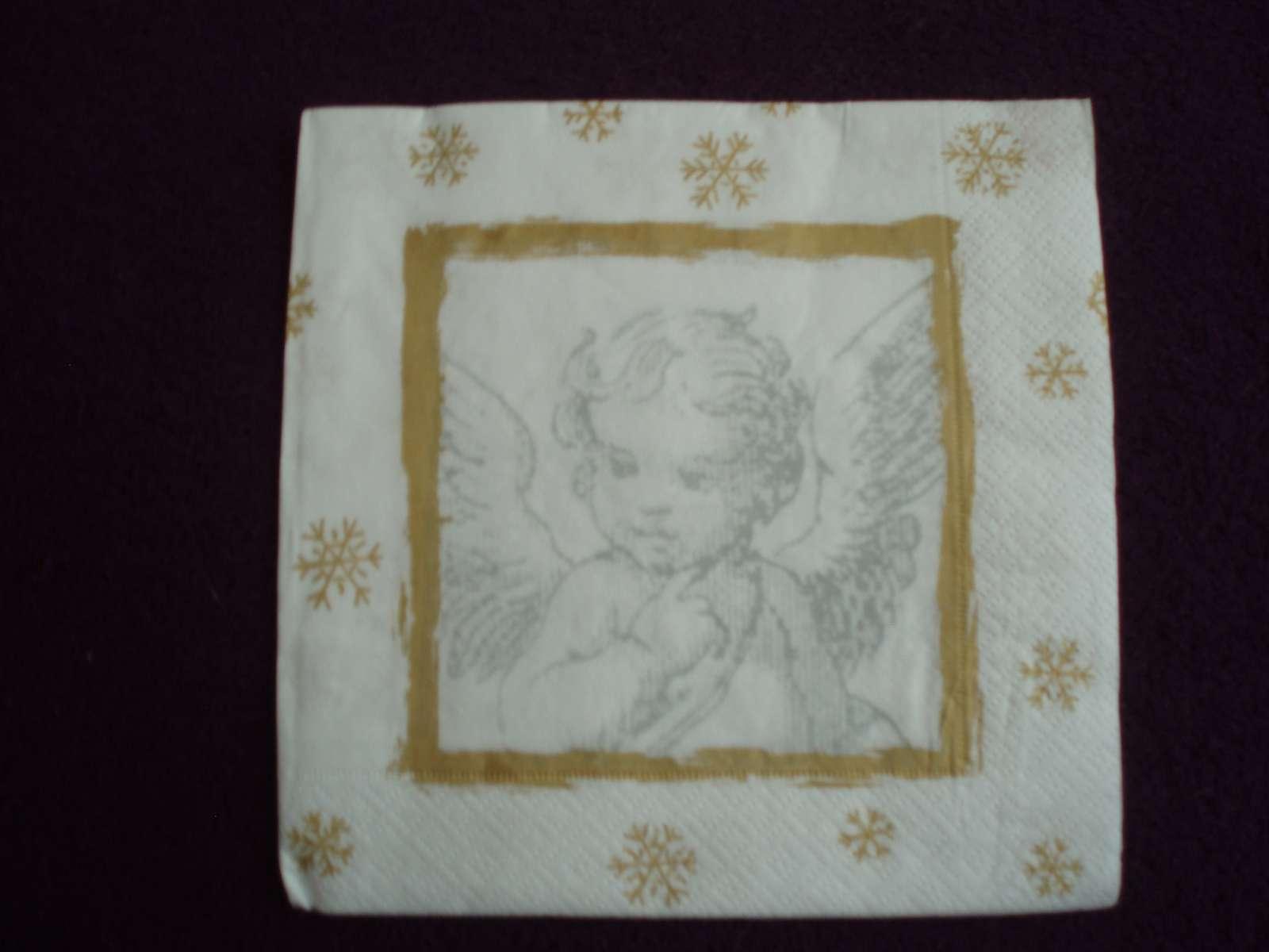 Zlato biele anjelikové servítky (40 ks) - Obrázok č. 1