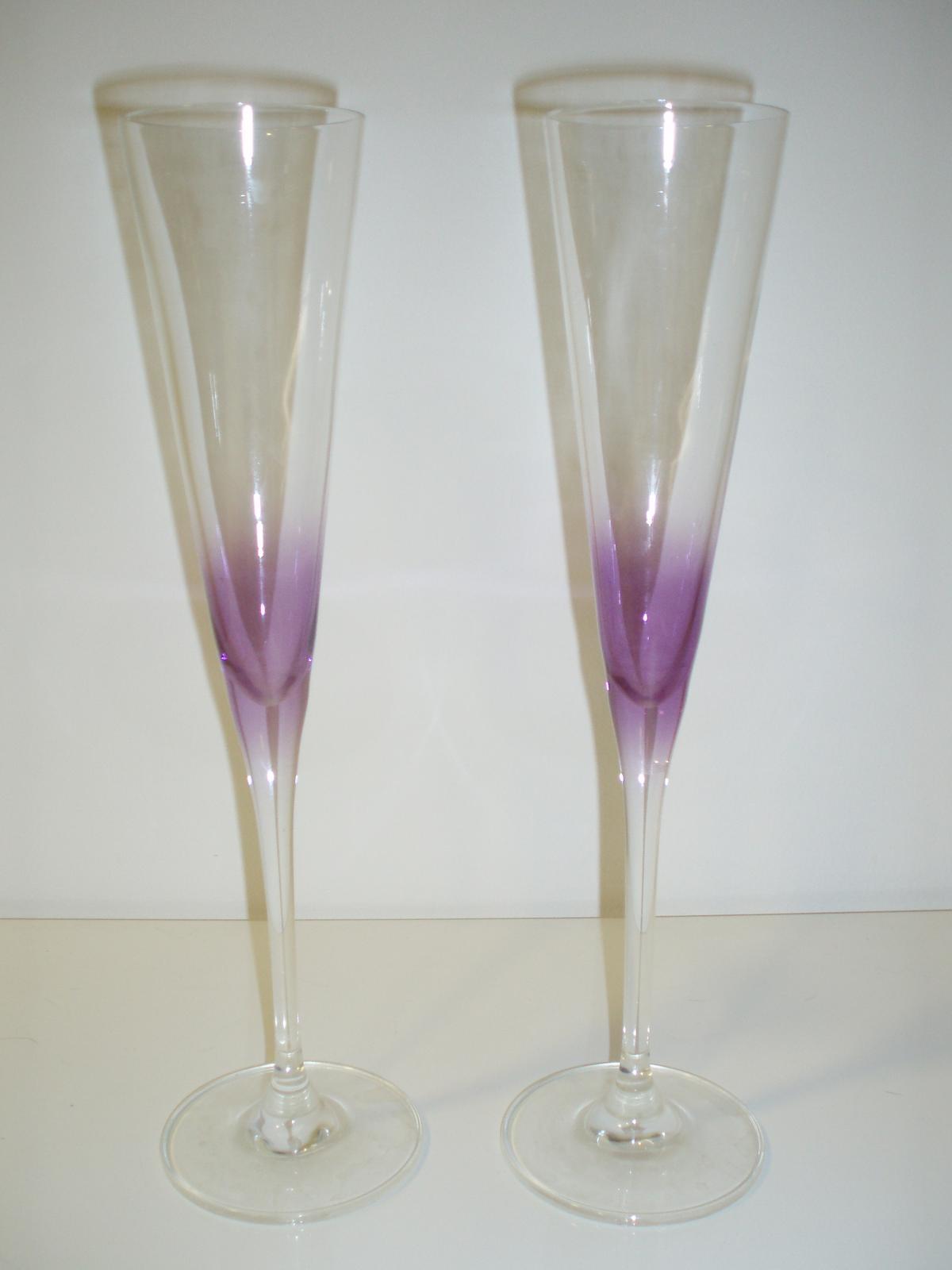 Fialové svadobné poháre na šampanské - Obrázok č. 4