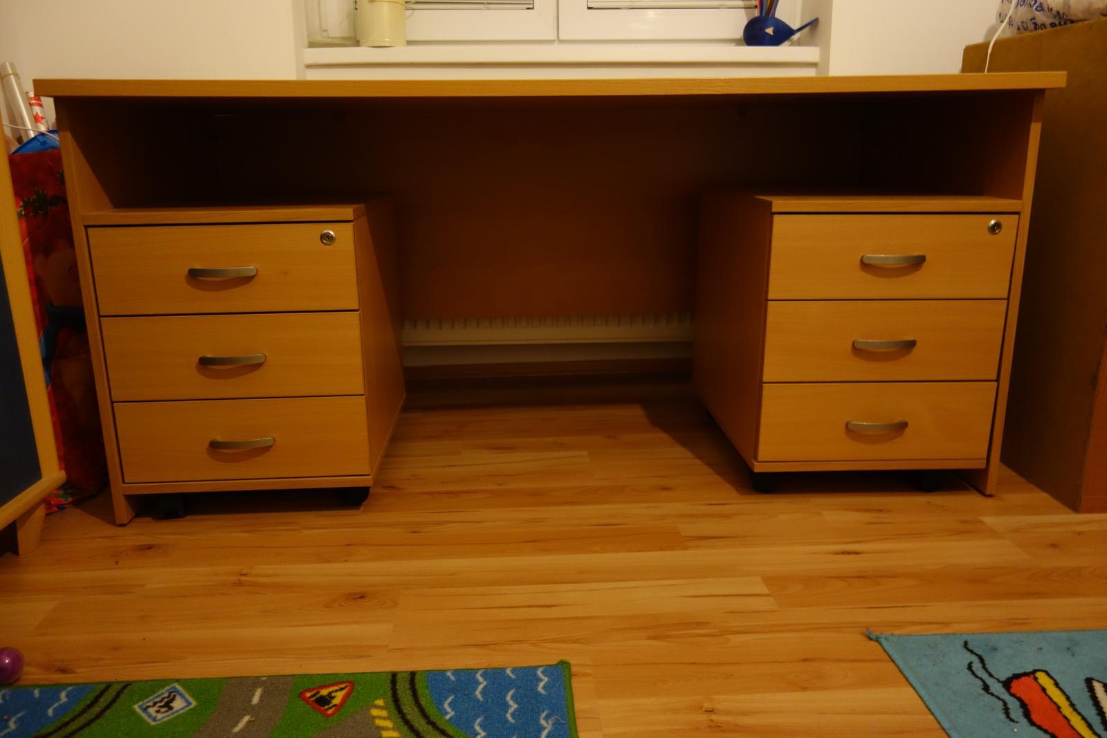 Písací stôl a 2 kontajnery - buk - Obrázok č. 1