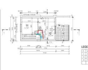 Nase vrchne poschodie.. rozmery izieb su inak, toto bol jeden zo starsich navrhov. Dnes su dvere tam kde je moda farba a chodba-priecky su zelenou