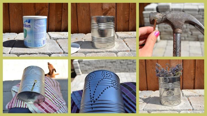 Projekt - záhrada ;-) - Svietnik na sviecku z plechovky ;-) s Hugom sme vyrabali