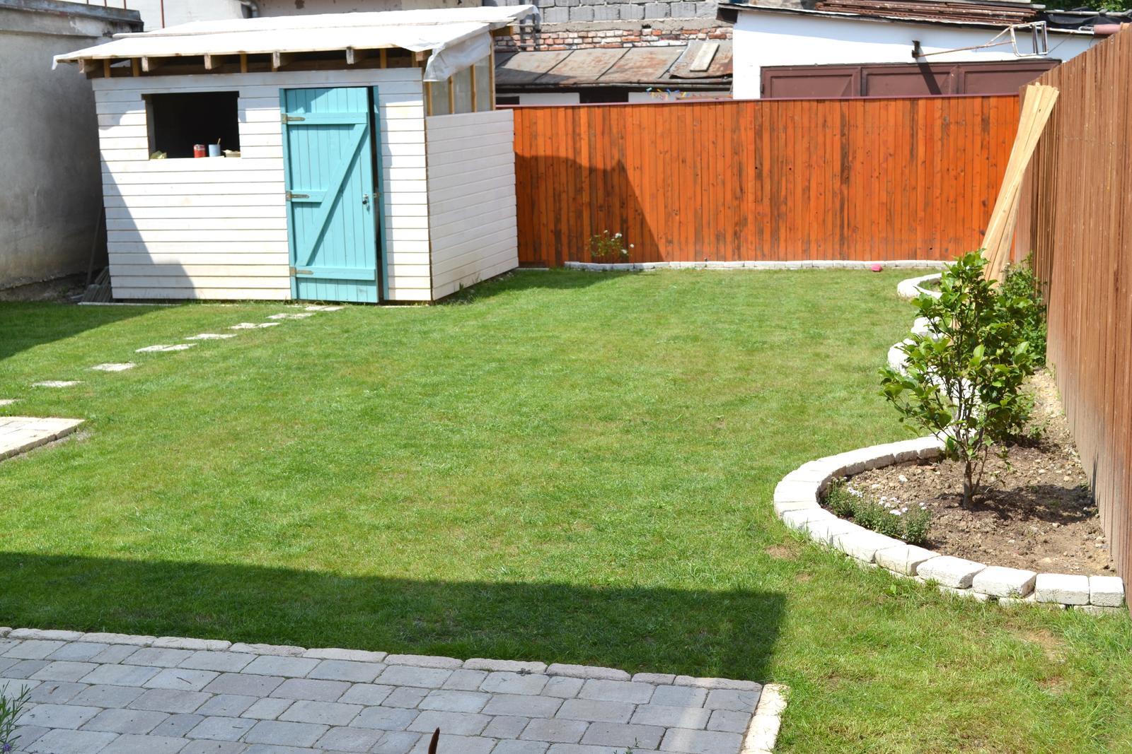 Projekt - záhrada ;-) - mame travu.. nie je to sice wimbledonsky travnicek, ale tesime sa z neho.. kolnicka v stadiu utlmu, pokracovanie coskoro.. :-)