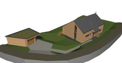 Prvá odrazová vizualizácia v priestore (zmenili sme striešku nad vchodovými dverami, takže strecha bude zarovno a nebude komín :-))