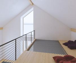 Približné vizualizácie galérie a obývačky. V dolnej časti vľavo pribudne ešte TV skrinka a telka