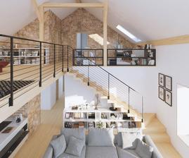 Bez svetiel a detailov, ale takto cca si to predstavujeme (hlavne tehlové steny, schody, rozčlenenie galérie a priestoru). Kuchynskú linku budeme riešiť inak