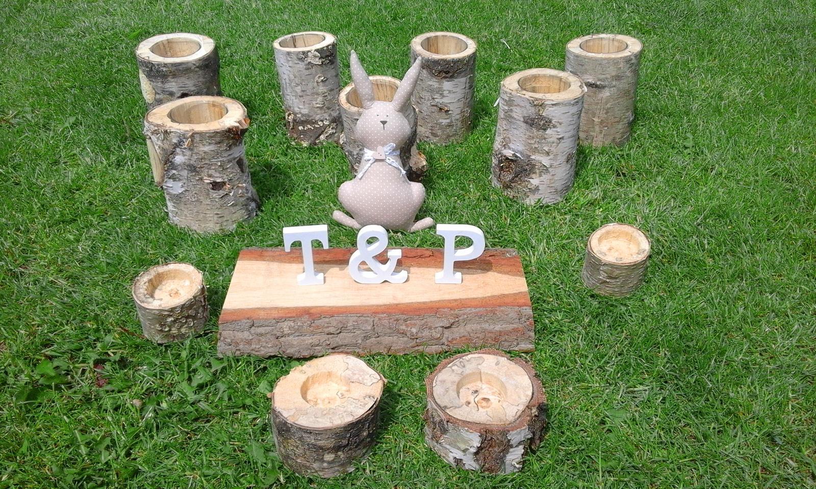 Vázičky, svícny, jmenovky ze dřeva - Obrázek č. 1