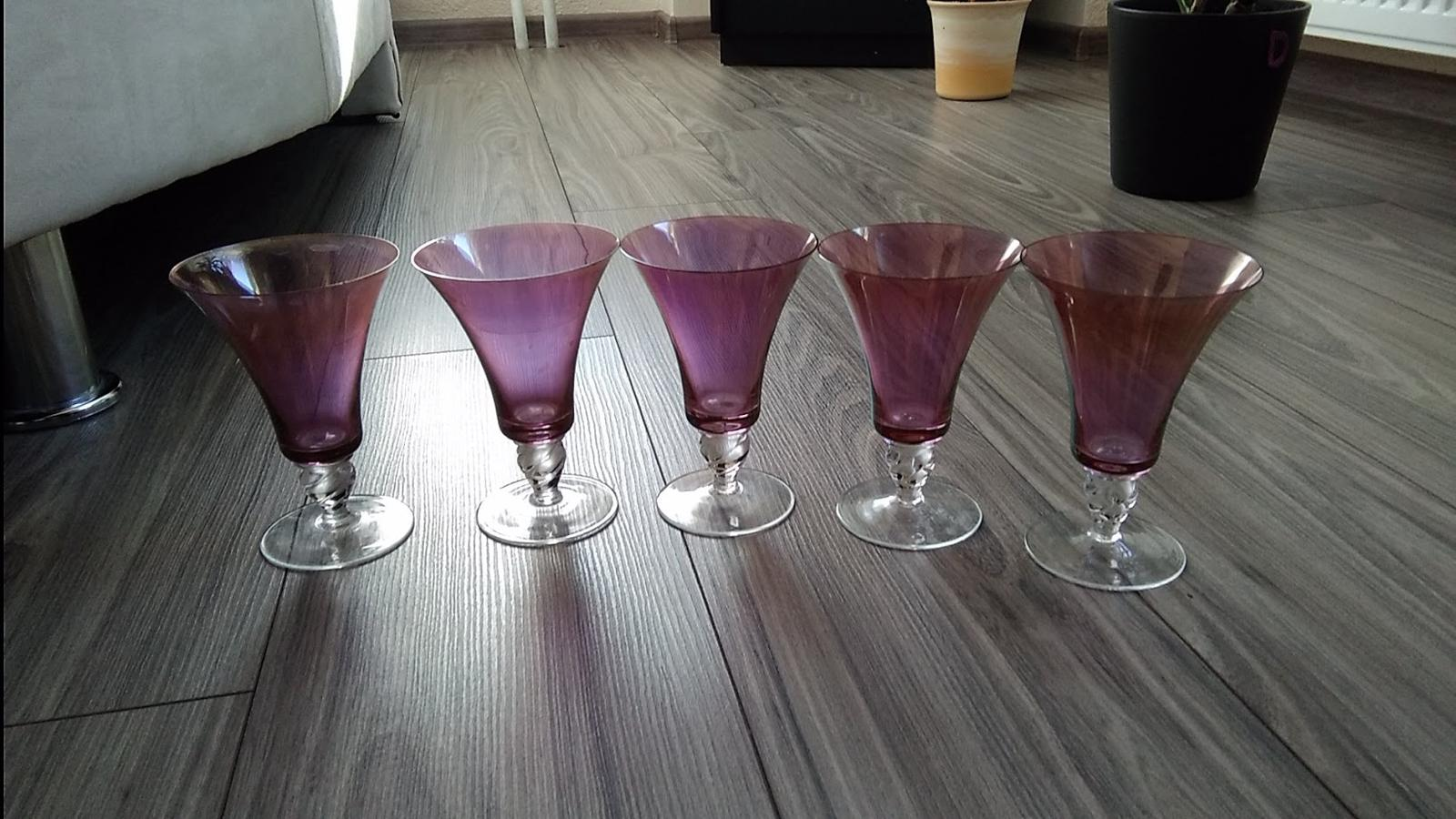 Retro ružové poháre-5 ks - Obrázok č. 1