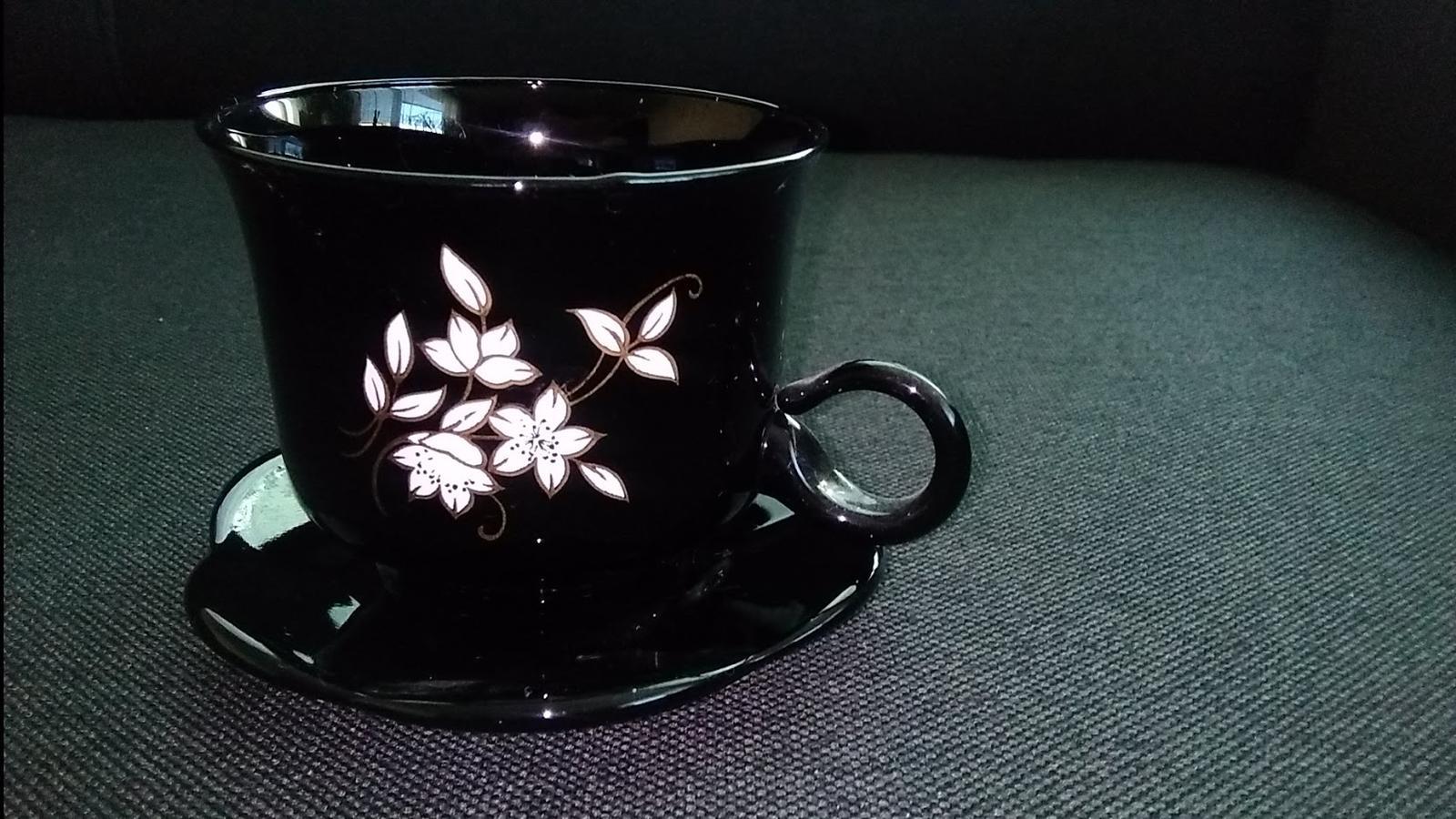 Čierne šálky s tanierikom-5 ks - Obrázok č. 3