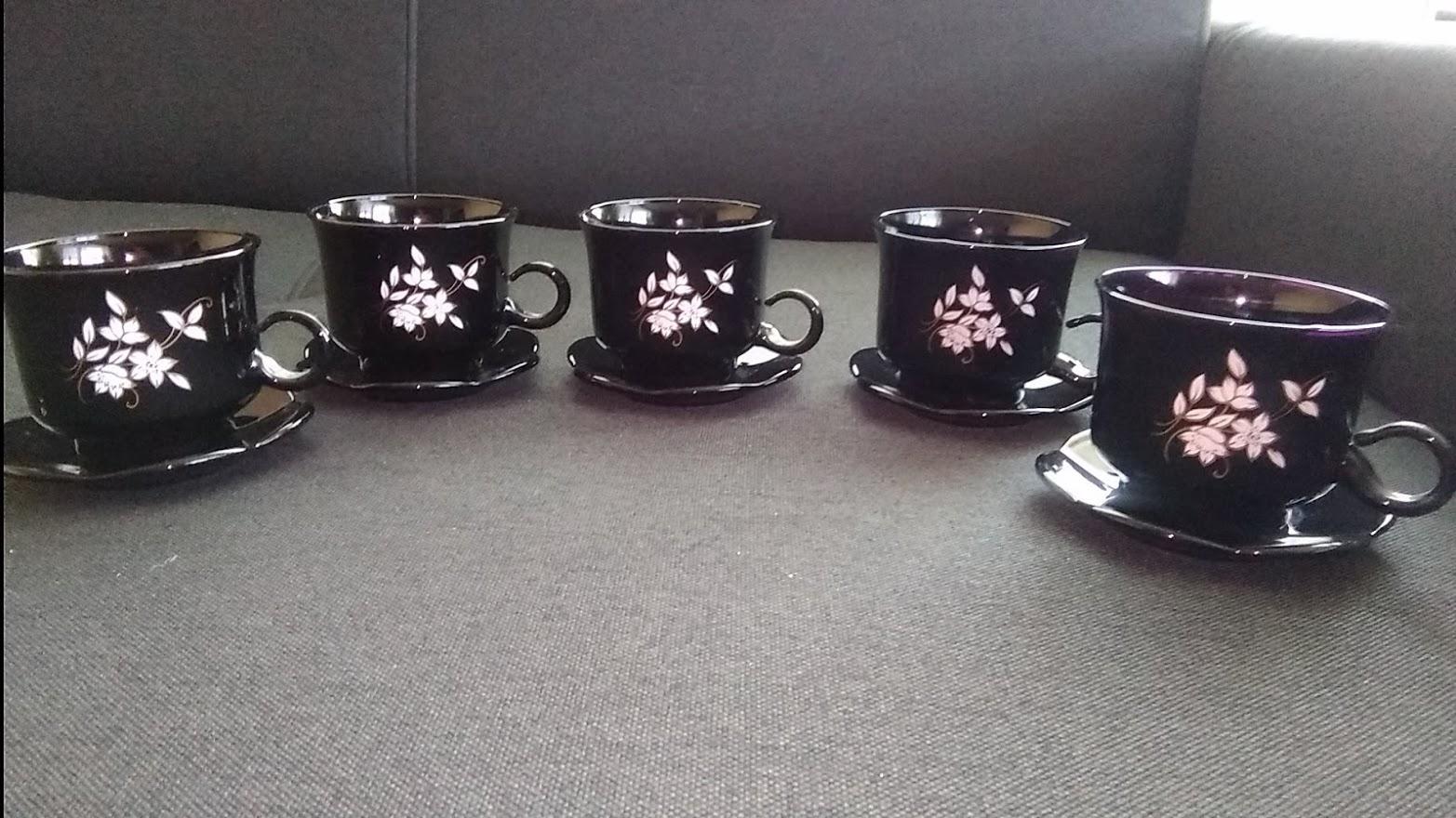 Čierne šálky s tanierikom-5 ks - Obrázok č. 2