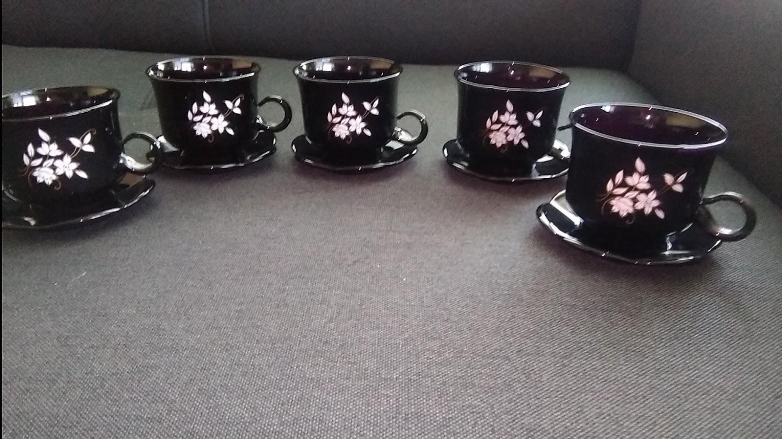 Čierne šálky s tanierikom-5 ks - Obrázok č. 4
