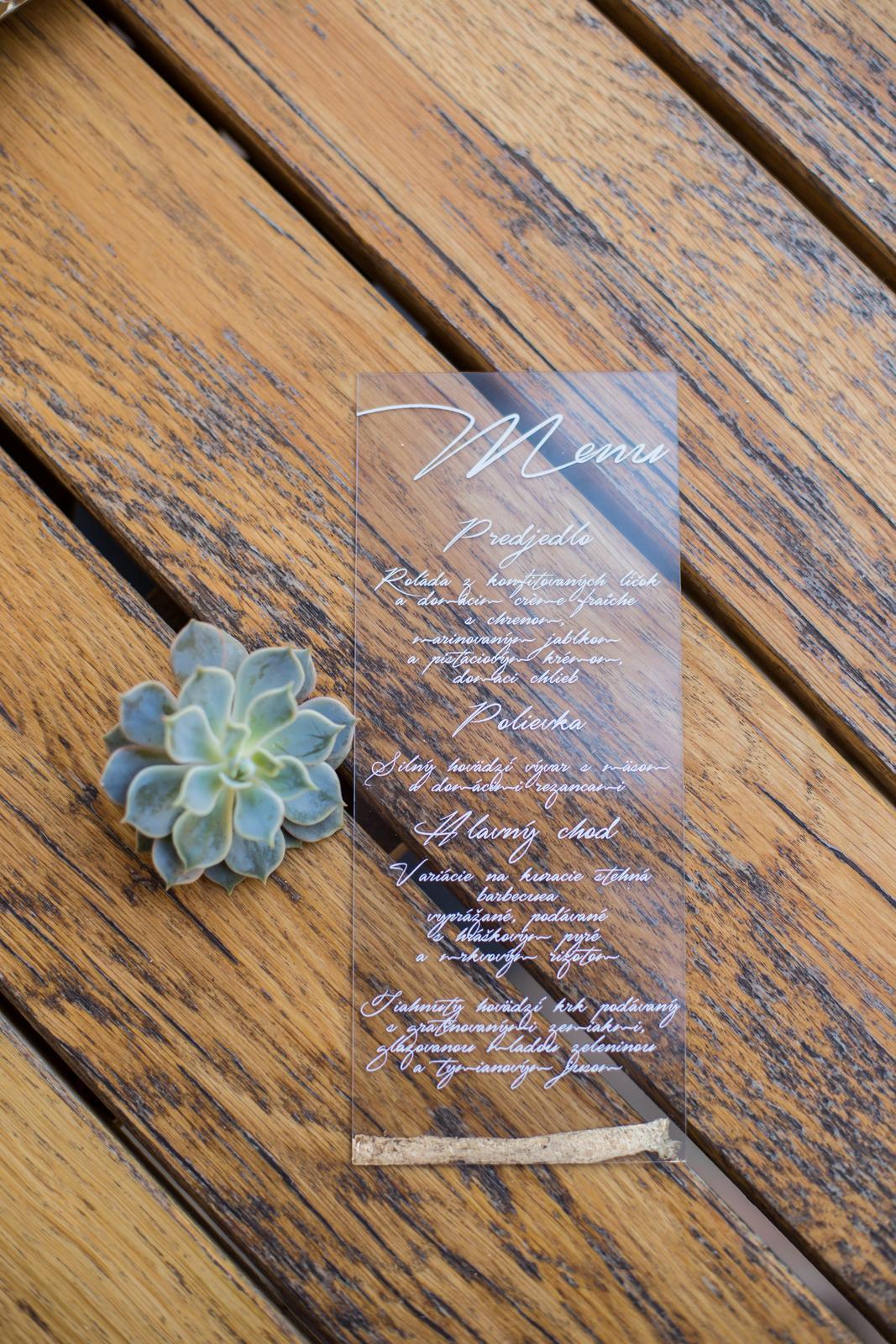 Originálne svadobné tlačoviny na transparentnom plaste doplnené plátkovým zlatom - Obrázok č. 9