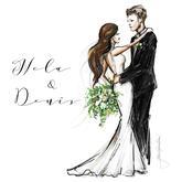 Ručne maľované postavy na svadobné oznámenie