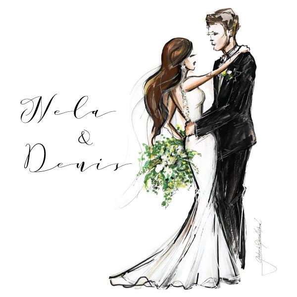 Romantická púdrovo-zlatá greenery svadbička Nelky a Denisa - Ručne maľované postavy na svadobné oznámenie