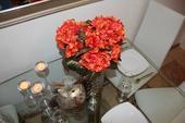 hortenzie oranžovo zlatá umělá kytice,