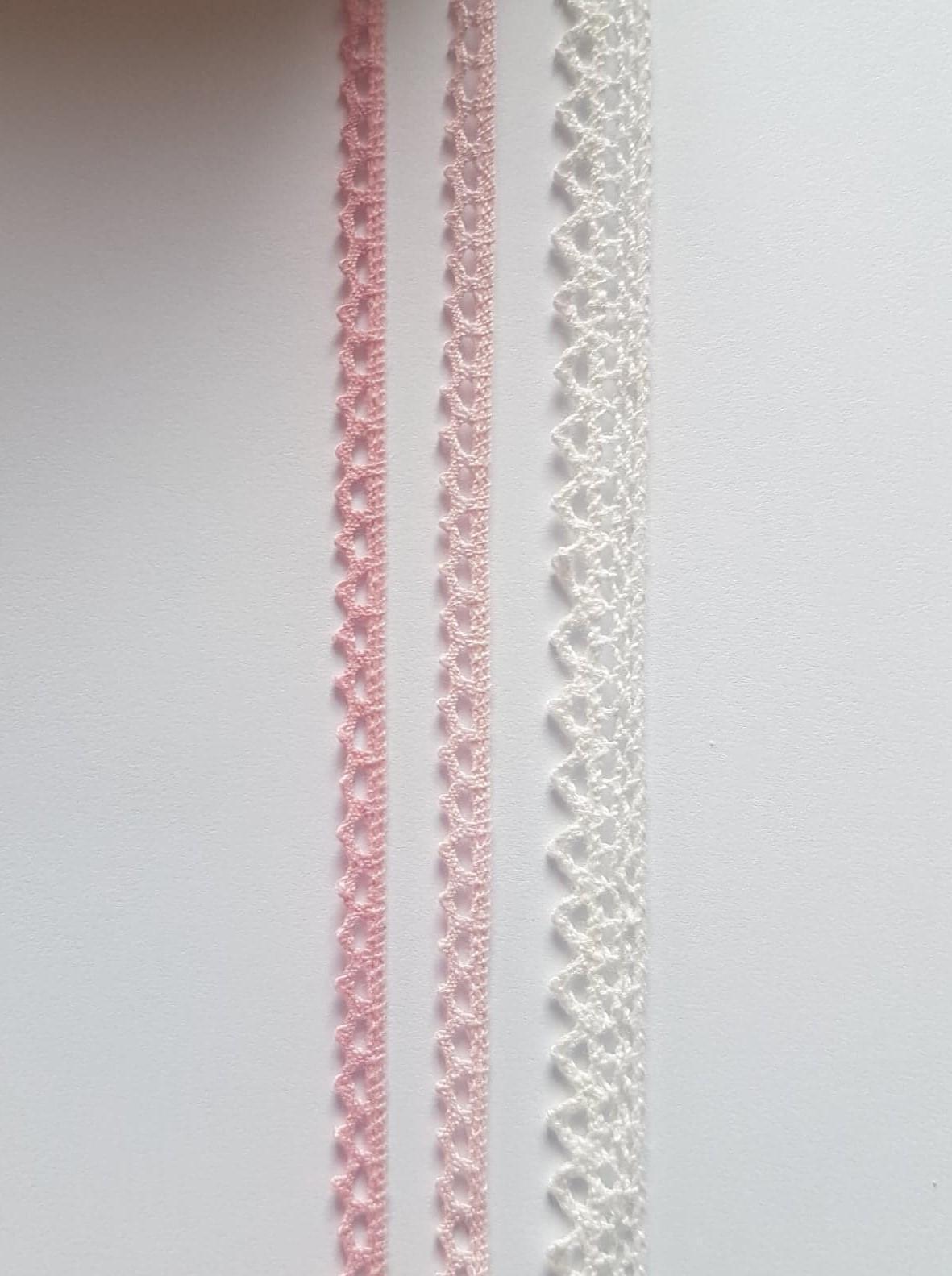 bavlnena cipka s. 12 mm biela a 7 mm ruzova - Obrázok č. 1