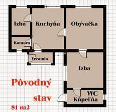 Dôvod prečo sme menili pôdorys bola priechodná izba a za ňou kúpeľňa. Tak sme špekulovali kam pridať aspoň 2 wc....a nakoniec namiesto 2 záchoda vznikla kompletná zmena všetkého