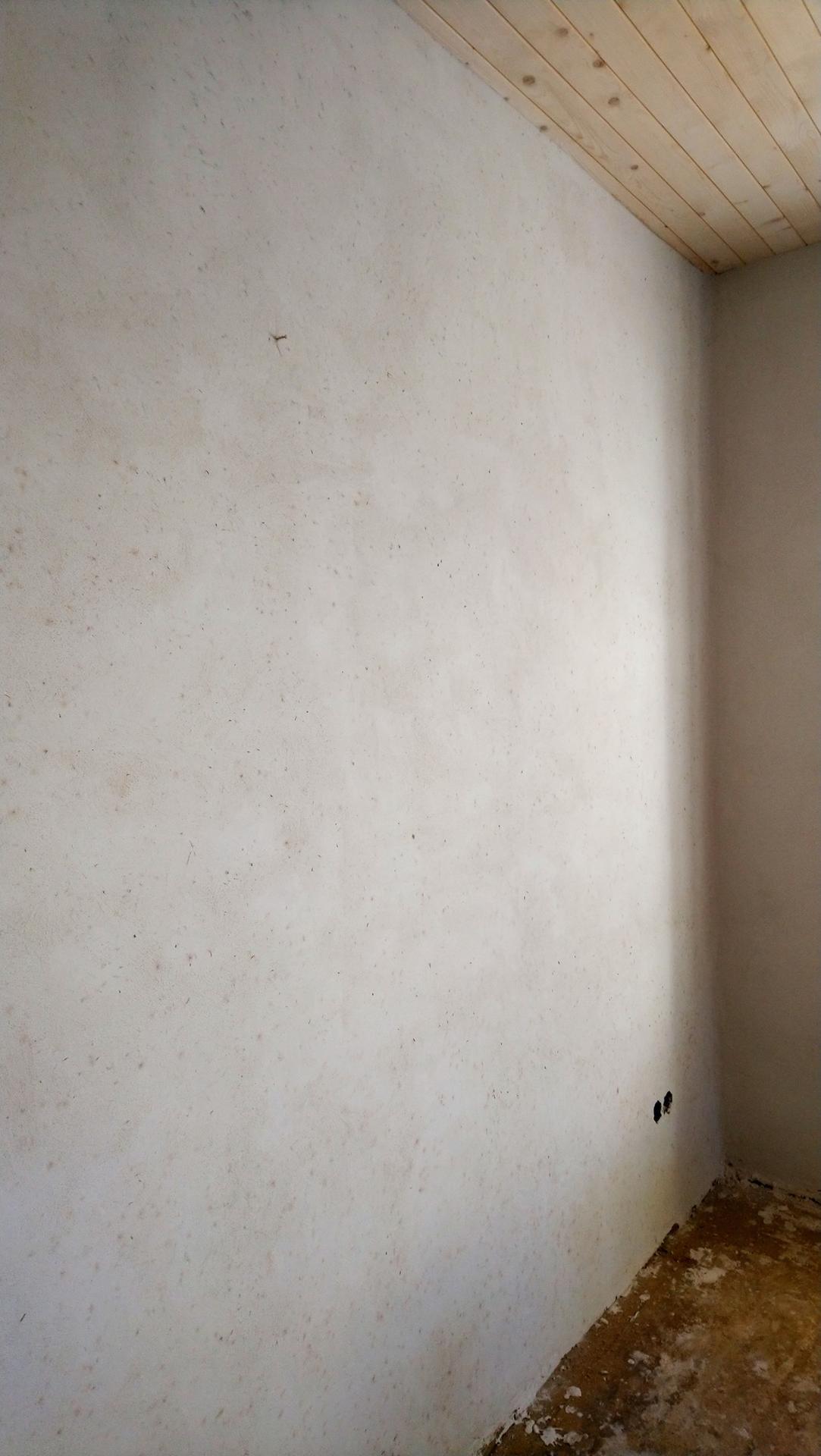 Hlinené omietky - Obyčajná biela stena. Ale pri pohlade zblízka vidno kvety modrej a rúžovej nevädze primiešané do omietky