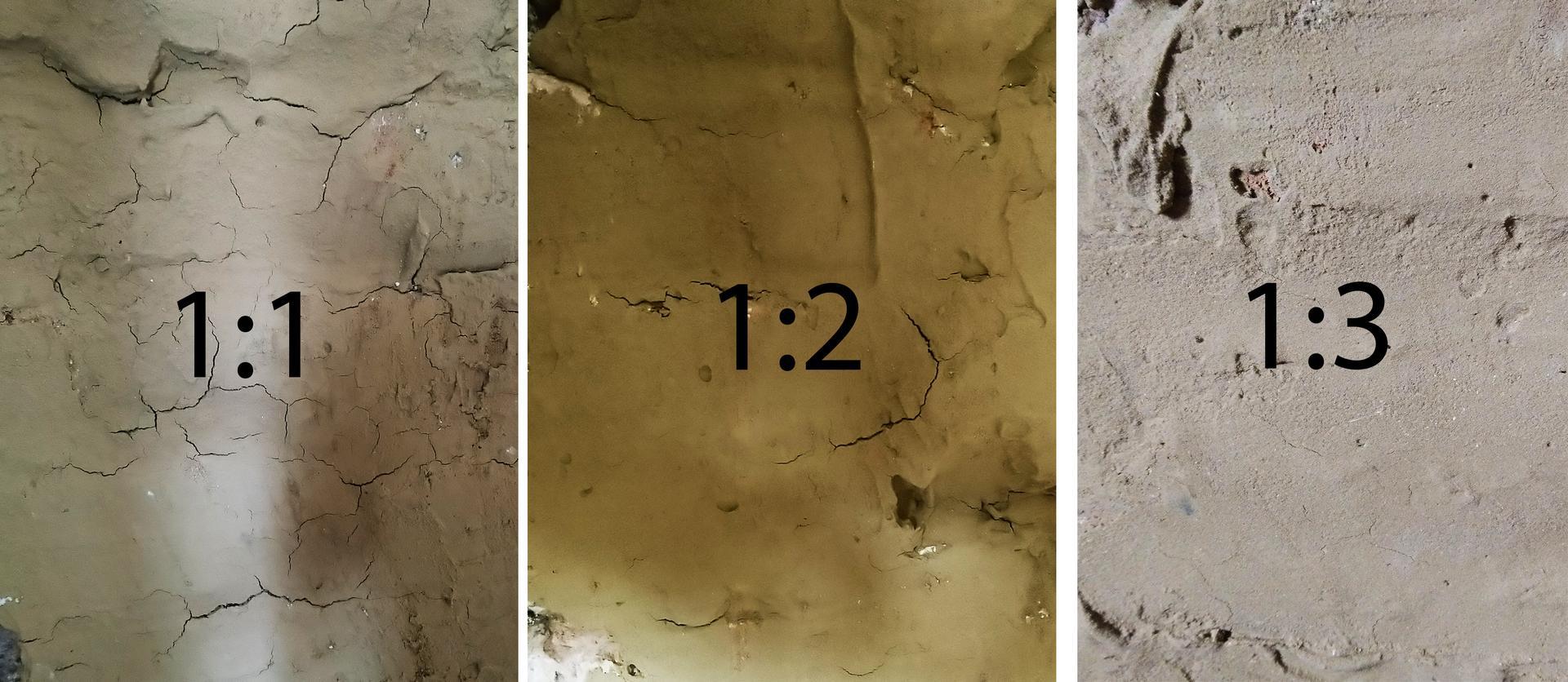 Hlinené omietky - Hlinená omietka je  zmes hliny a piesku. Správnu zmes nám odhalí tento test. Zmiešame si hlinu s pieskom v rôznych pomeroch a nanesieme na stenu. Omietka nesmie mat velké trhliny, ale ani byť  bez nich. Ideálne sú malé, 1 - 3 cm dlhé a pár mm široké