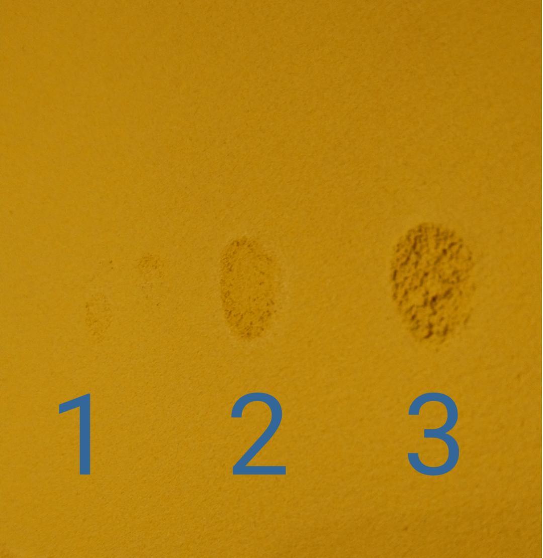 Hlinené omietky - Omietka musí zavädnút, čo sa udeje niekedy po 5 min alebo kľudne aj po 1,5 hod. Zistíme to jemným priložením prsta. V čerstvej nám nechá výrazný odtlačok - 3 v zavädnutej iba nenápadnú stopu - 1