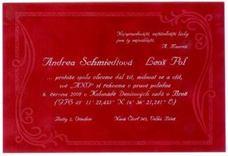 Naše sametové svatební oznámení