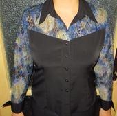 Společenská halenka, dlouhý rukáv,modro-černá, 42