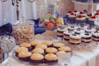 Vanilkové rohlíčky, Kokosky, Ovocné Poháre, Makronky, Muffiny