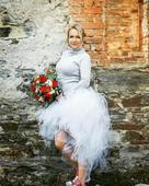 Originální svatební tylová tutu sukně s vlečkou , 40