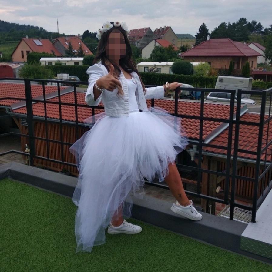 Originální svatební tylová tutu sukně s vlečkou - Obrázek č. 3