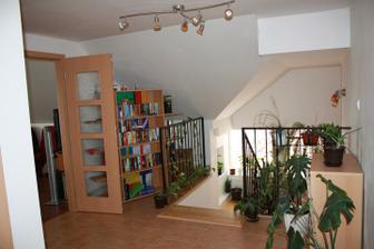 Schodicko a vchod do hornej obyvacky s kuchynou....za knihovnickou je schovane kuriace centrum domu :-)
