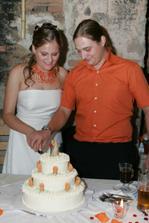 Krájení dortu-byl velikánský a vynikající.