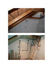 místnost jak vypadala na začátku jen trámy..žádné okno..prostě nic..a pak v průběhu rekonstrukce