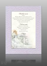 naše svatební menu s motivem oznámení