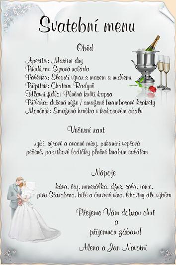 Janča a Jirka - přípravy na červenec 2012 - necháme si udělat menu s motivem našeho oznámení