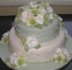 mňam.....svatební dort nám upeče maminka ženicha, ale bude posypaný kokosem a bude mít červené růžičky...