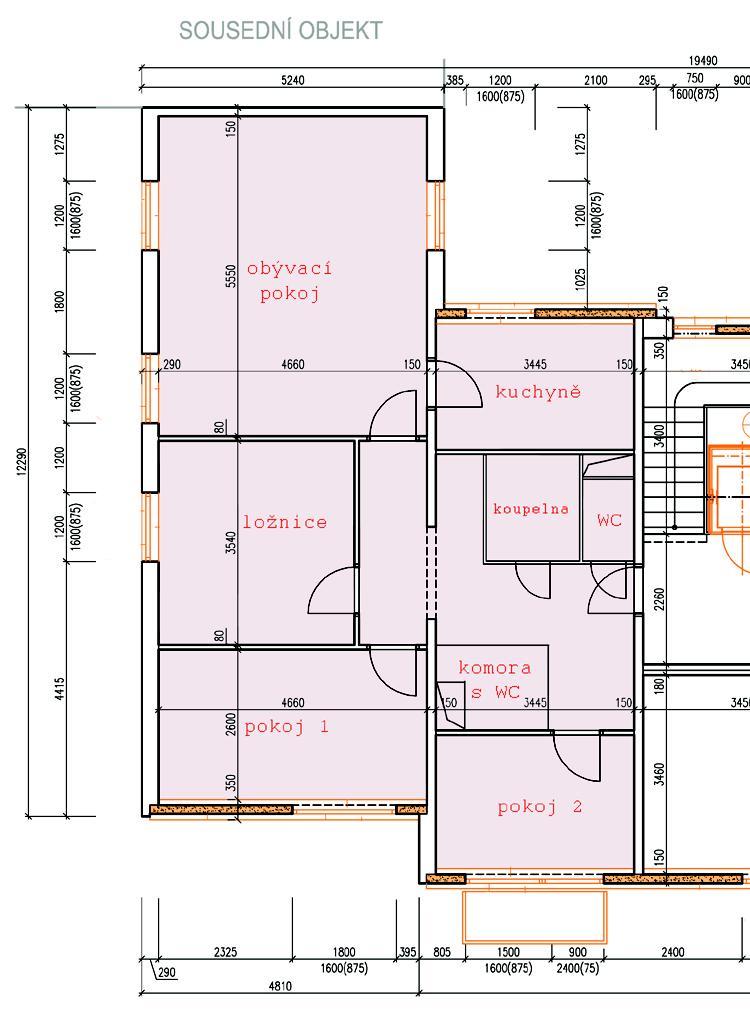 Dvougenerační panelákový byt = dvě jádra - projekt od projektanta... dělal ho od stolu, takže je to spíš orientační :-/