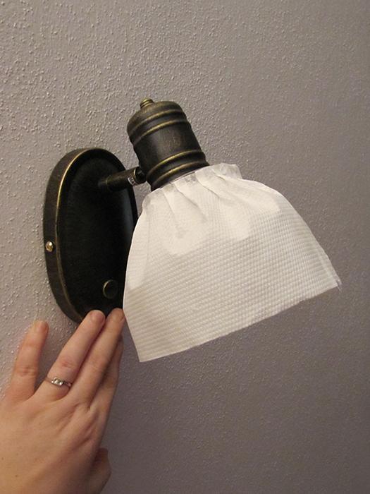 Bydlení - zařizování - další varianta - textilní stínítko (zatím zkoušeno na papírové utěrce)