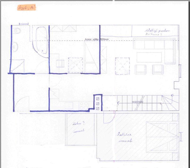 Podkrovní byt - Tak plánuju jak by to mohlo být... Byt A