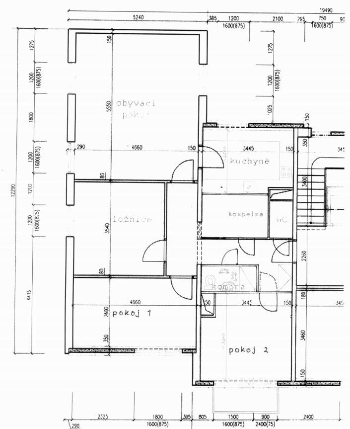 Dvougenerační panelákový byt = dvě jádra - představa možné přestavby