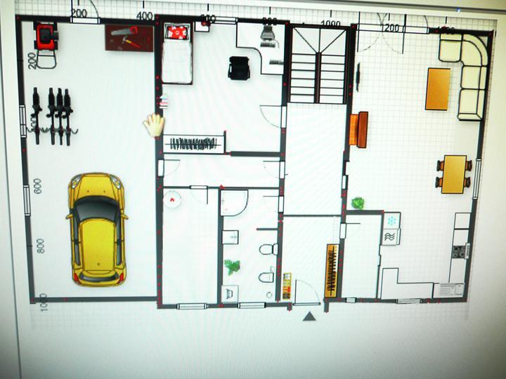 Nový projekt - prosím o vaše názory - Tak ještě jinak, vchod do technické místnosti z chodby ke garáži a koupelna má okno, vchod do spíže i z předsíně,schody s podestou jsem v programu nenašla