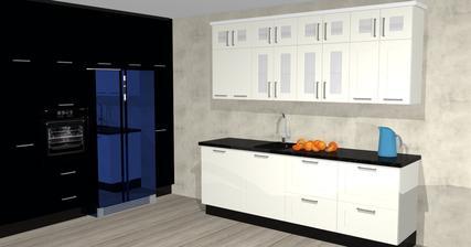 predposledni verze navrhu kuchyne ... spodni skrinky budou prehozeny, horni ty 4 dvirka uprostred budou bez skla