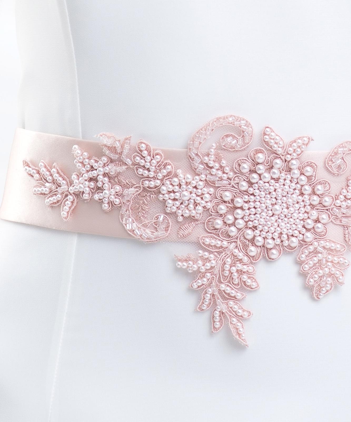 Ružový opasok na svadobné šaty - Obrázok č. 3