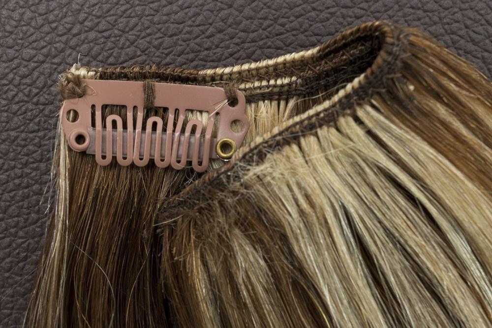 Ľudské Clip in vlasy Tmavý melír 50cm - Obrázok č. 3