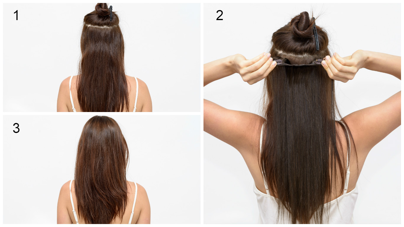 Ľudské Clip in vlasy Tmavý melír 50cm - Obrázok č. 4