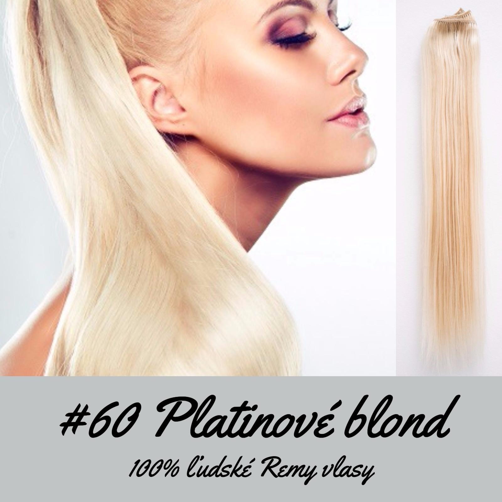 Ľudské Clip in vlasy Platinová blond 50cm - Obrázok č. 1
